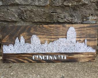 Cincinnati Skyline String Art, Cincinnati String Art, Cincinnati Wall Hanging, Wall Decor, Cincinnati Sign, City Skyline