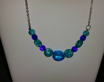 Blue and teal beaded necklace
