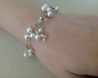 Handmade 'Enchanted' crystal and pearl bracelet