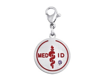 Med ID Disc Charm With Personalized Birthstone