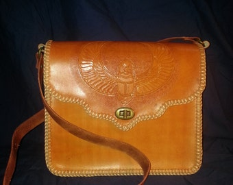 leather tooled messenger bag