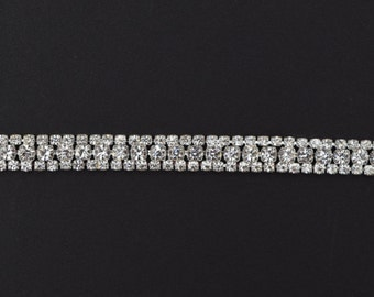 Crystal Rhinestone Trim by the Yard - Wholesale Bridal Trim - gold Thin Crystal Trim - Rhinestone Applique [Style TR29]