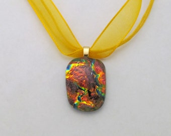 Orange an Blue Fused Glass Dichroic Pendant Necklace