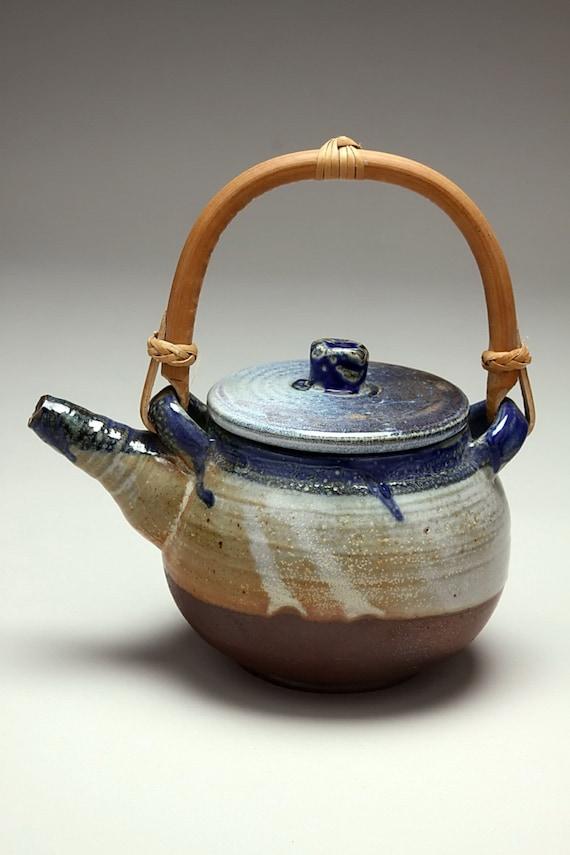 Ceramic teapot salt glazed pottery with bamboo handle - Bamboo teapot handles ...