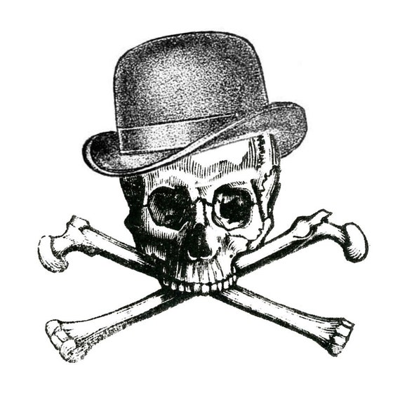 Vintage Hat Tattoos: Items Similar To 2 Vintage Skull And Crossbones With