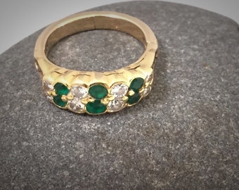 Stunning 22K Gold Diamond Emerald Ring