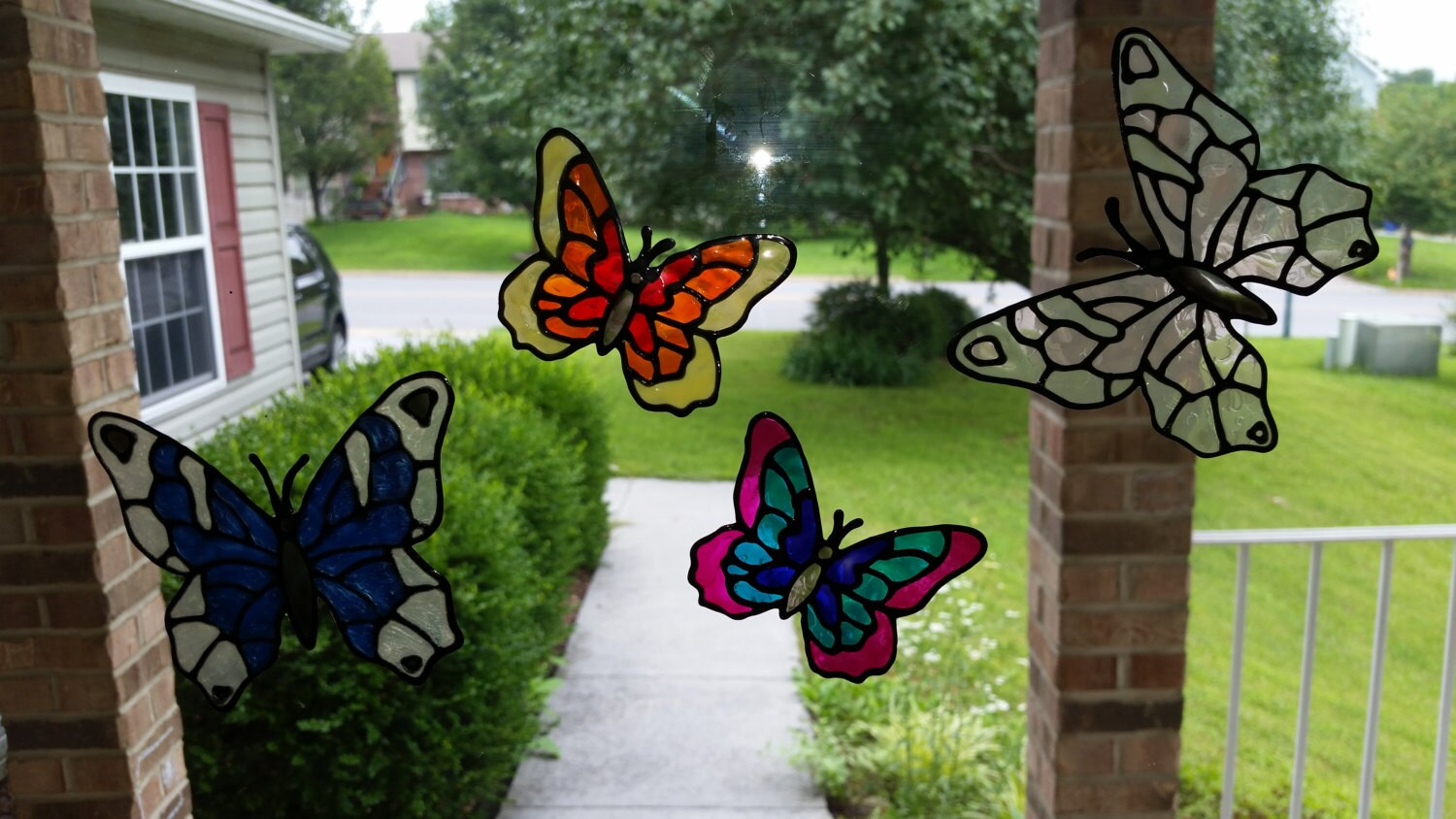 faux stained glass butterfly window clings. Black Bedroom Furniture Sets. Home Design Ideas
