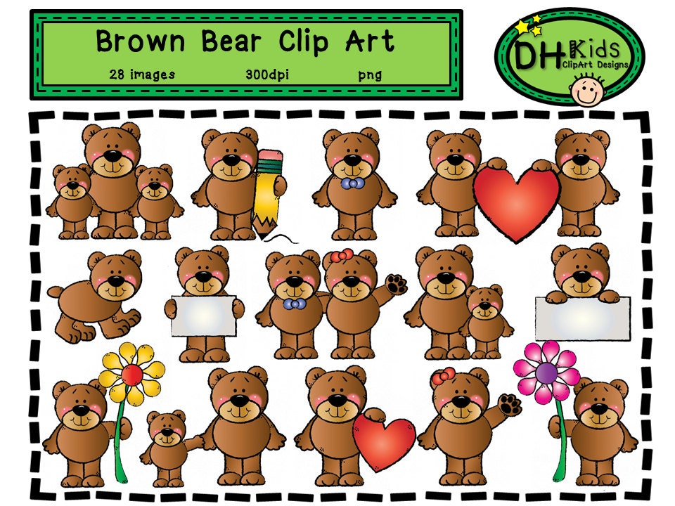 Brown Bear Clip Art from DHKids on Etsy Studio