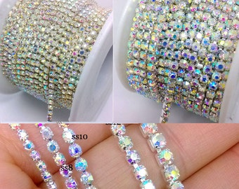 10 Yards Crystal Glass Pointback Clear AB Rhinestone Setting Silver Chain Close Cup 2/2.5/3/3.5/4/5mm