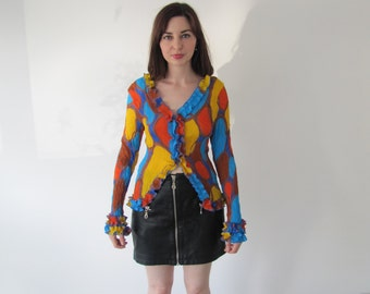 Vintage Ladies Multicoloured Spot Print Frill Blouse