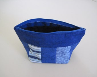 Blue Multiple Prints and Solid Zipper Close Bag