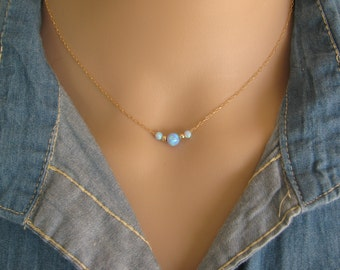 Opal necklace, opal ball necklace, opal gold necklace, opal jewelry, tiny dot necklace, fire opal, blue opal necklace,free shipping