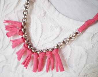 tshirt necklace knitted necklace chunky necklace pink necklace trendy jewelry statement jewelry fringe necklace tshirt jewelry free shipping