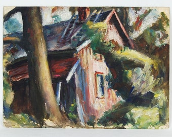 1940's Gouache Cabin In Woods Landscape Painting J.C. McPherson NYC Artist