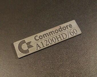 Commodore Amiga 1200 HD/60 Logo / Sticker / Badge brushed alu 49 x 13 mm [262b]