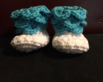 Crochet Newborn Ruffle Booties