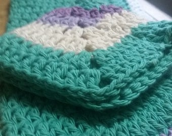 Teal Granny Square Kitchen Towel and Dishcloth Set