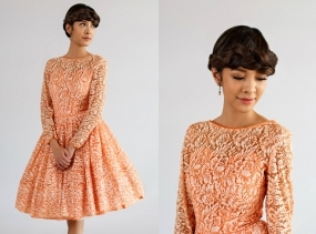 Tangerine Lace Bridesmaid Dress / Vintage 1950s Tea Length Dress