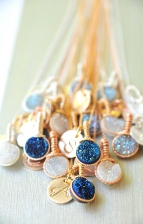 Dainty Colbalt (Midnight) Druzy in Gold  Handmade by BareandMe on Etsy,Dainty Druzy Bridesmaid Necklaces,  Bright Colored Jewelry