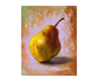 ORIGINAL OIL PAINTING 8x10 Pear Still Life Fruit Art Realism