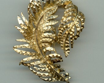 1960's Large Feather Brooch Signed BSK