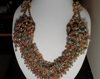 One of a Kind Statement Necklace-Huge,Colorful, Full of Sparkle