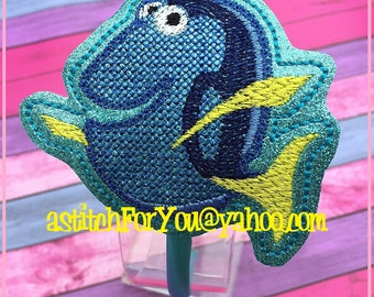 BLUE FiSH Character Inspired HB Slider ~ In The Hoop Headband ~ Downloadable DiGiTaL Machine Embroidery Design by Carrie