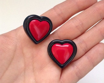 Two Tone Heart Post Earrings - Hand Cast Resin - Pin Up Rockabilly Kitsch Novelty Retro