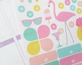 41, Summer Theme Stickers, Flamingo, Summer, Garden, Backyard, BBQ, Barbecue, Decorating Kit, Hand Drawn, Diary, Agenda, Scrapbook, Journal