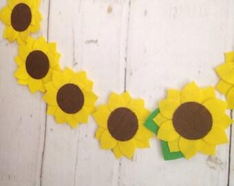 Sunflower Garland | Burlap and Felt | Banner | Spring Decor