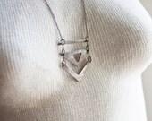 Statement Necklace Large Chevron Necklace Chevron Necklaces Silver V Necklace Charm Chevron Pendant Trendy Jewelry Chevron Necklace