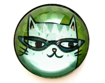 CAT EYE GLASSES magnet, cat lady gift, christmas cat gift, round magnet, cat mom, fridge magnet, novelty magnet, cat gift idea, pun gifts