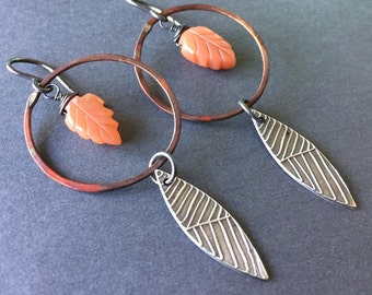 Desert Dream, Peach Moonstone, Fine Silver, Copper, Sterling Silver, Mixed Metals Earrings, erinelizabeth