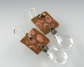 Printed copper square earrings with broiler rock crystal dangle sterling silver earrings