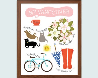 Vancouver Art Print, 8 x 10 Art Print, Vancouver BC Print, Wall Art, Gift for Vancouverite, Vancouver is Awesome, Gift for Friend, Cat Lover