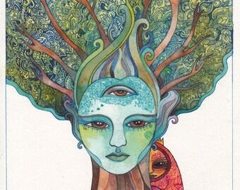 Spirit Tree Original Watercolor by Megan Noel