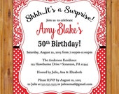 Red Surprise Birthday Invite Party Invitation Woman's Damask Polka Dots 50th 60th 45th Printable Invitation 5x7 Digital JPG (487)