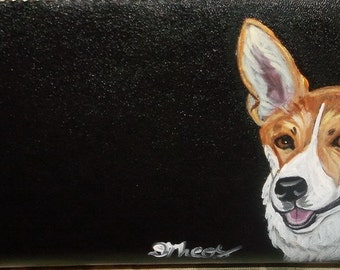 Welsh Corgi Dog Painted Women's Leather Wallet Vegan