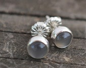 gray moonstone and sterling silver small stud earrings