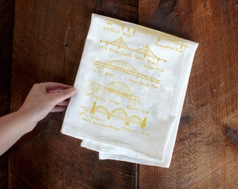 Pittsburgh Kitchen Towel, Pittsburgh Bridges Towel, Tea Towel, PGH Hand Towel, Pittsburgh gift, white cotton towel, wedding gift
