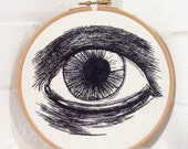 Eye Embroidery Hoop Art Hand Stitched Illustration READY TO SHIP