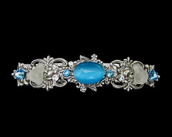 Sparkling Hair Barrette with Light Aqua Cabochon  Crystals and Beach Glass