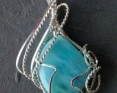 On Hold for Rose Larimar Pendant Sterling Silver Wire Wrapped OOAK
