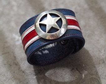 Captain America inspired leather wrist cuff