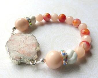 Peach Pink Mountain Jade Bracelet, Abstract Gemstone Beaded Bracelet, Pink and Silver Jade,Gemstone Stack Bracelet, Unique Pink Jade Jewelry