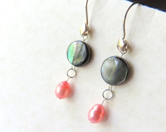 Coin Pearl Dangle Earrings, Black Shell and Coral Freshwater Pearl Earrings, Sterling Silver Pearl Earrings, Shell Beach Vacation Jewelry