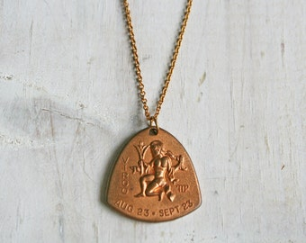 Virgo Zodiac Necklace / Vintage / Virgo / Star Sign