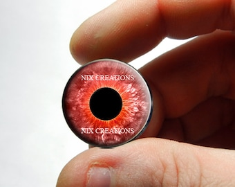 Glass Eyes - Red Zombie Human Doll Eyes Handmade Glass Cabochons - Pair or Single - You Choose Size