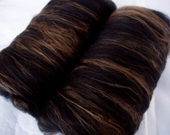 18 micron merino silk spinning batts, nuno felting fiber, wet felting, merino batts, batting, black batts, BLACK and BRONZE,  3.5oz, 100g