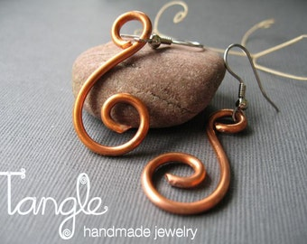 Reclaimed Copper Swirl Earrings